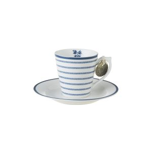 Laura Ashley-Blueprint Espresso Φλιτζανάκι με πιατάκι Candy Stripe