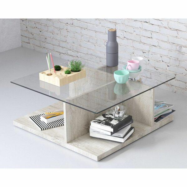 BOOK COFFEE TABLE LIGHT OAK 80x80xH36cm