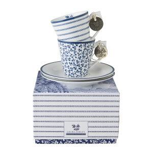 Laura Ashley-Blueprint Espresso Φλιτζανάκι 4τμχ σε κουτί δώρου Floris και Candy Stripe