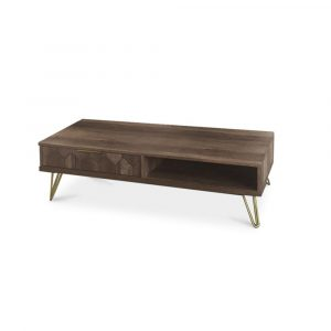 BRICK NEW COFFEE TABLE ΚΑΡΥΔΙ ΜΕ PATTERN ΧΡΥΣΟ 110x55xH40,5cm