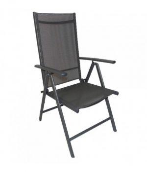 Πολυθρόνα Πτυσσόμενη 7 Θέσεων Αλουμινίου - Ανθρακί χρώμα