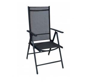 Πολυθρόνα Πτυσσόμενη 7 Θέσεων Αλουμινίου - Μαύρο χρώμα