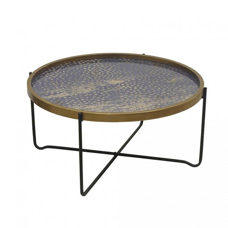 BIG FISH COFFEE TABLE ΠΟΛΥΧΡΩΜΟ ΜΕ PATTERN ΜΑΥΡΟ D75xH37,5cm