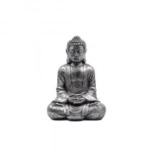 BUDDHA ΔΙΑΚΟΣΜΗΤΙΚΟ POLYRESIN ΜΑΥΡΟ/ΑΣΗΜΙ 25x17xΥ35cm