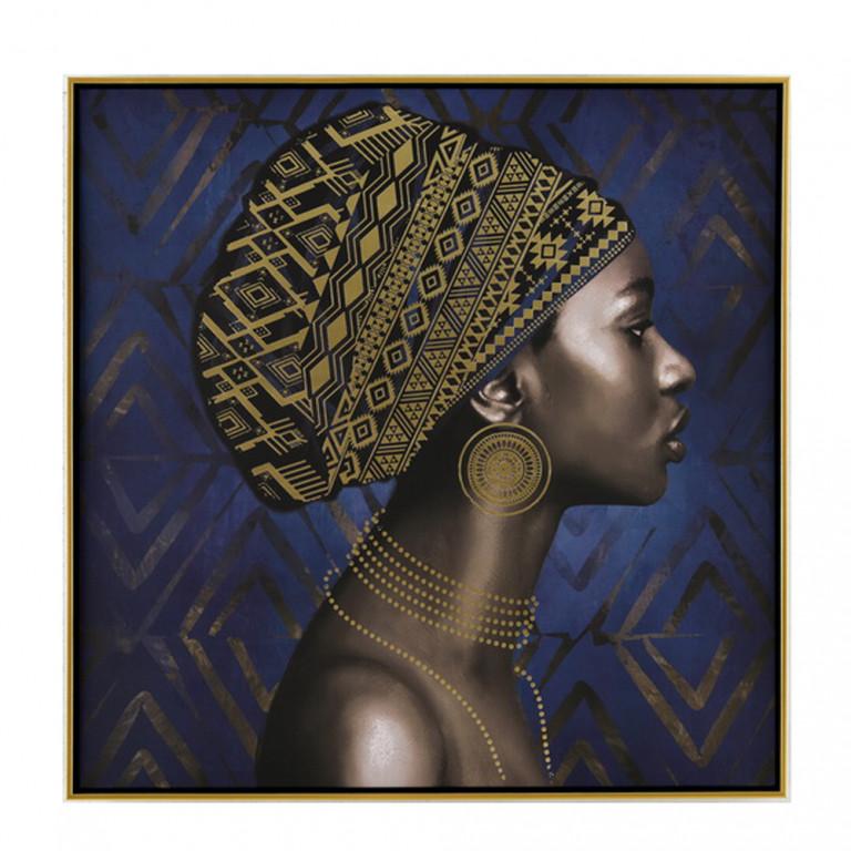 AFRICAN LADY ΠΙΝΑΚΑΣ ΜΠΛΕ/ΧΡΥΣΟ 80x80cm