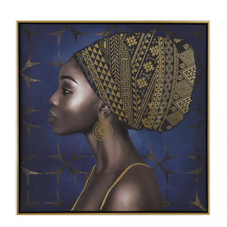 AFRICAN WOMAN ΠΙΝΑΚΑΣ ΜΠΛΕ/ΧΡΥΣΟ 80x80cm