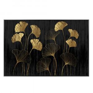 FLOWERS ΠΙΝΑΚΑΣ ΜΑΥΡΟ/ΧΡΥΣΟ ΜΕ ΜΑΥΡΗ ΚΟΡΝΙΖΑ 120x80cm