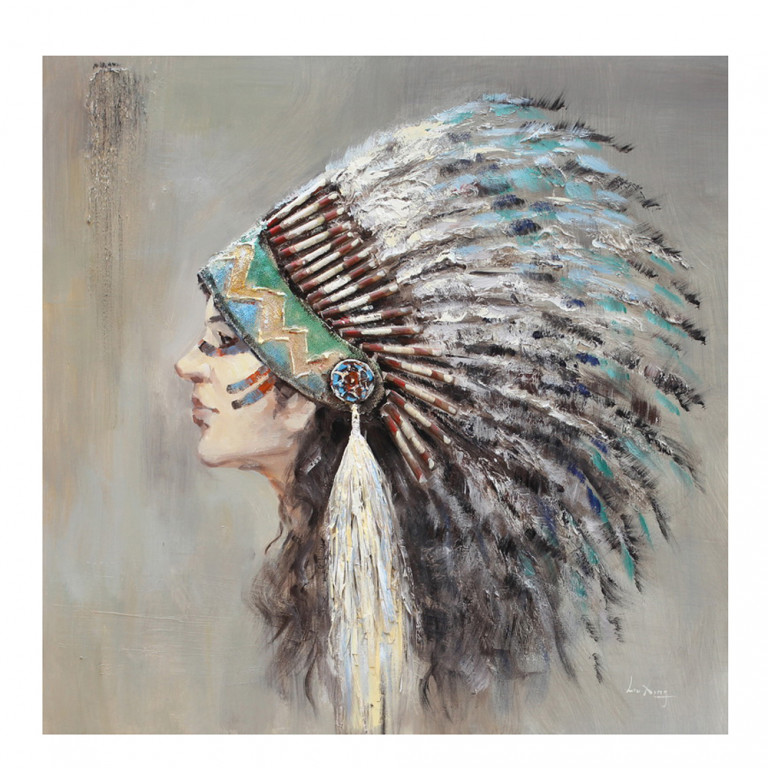 INDIAN LADY HANDMADE ΠΙΝΑΚΑΣ 90x90x3,5cm