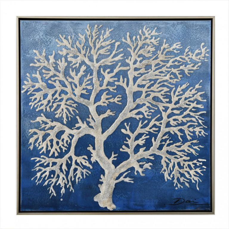 CORAL BLUE 1 ΠΙΝΑΚΑΣ ΜΕ ΚΟΡΝΙΖΑ 62,5x62,5x4,5cm