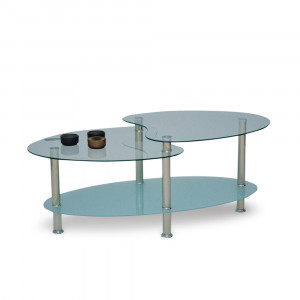 CORAL COFFEE TABLE ΔΙΑΦΑΝΟ/ΑΜΜΟΒΟΛΗ ΑΣΗΜΙ 90x60xH42cm