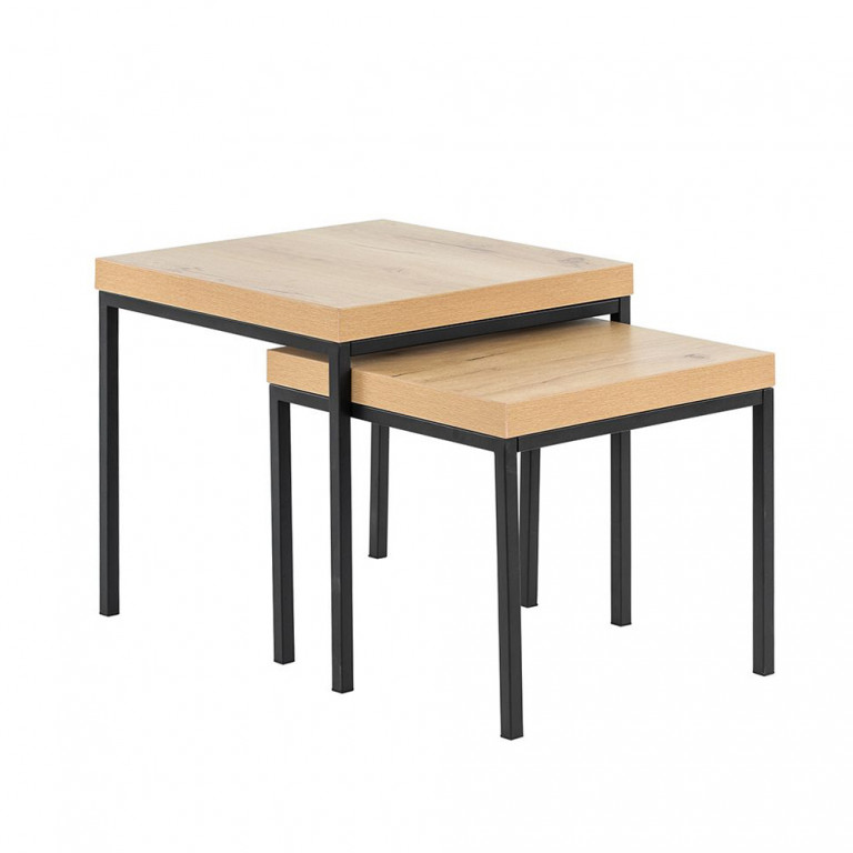 BROOKLYN SIDE TABLE NATURE ΜΑΥΡΟ 50x50xH50cm