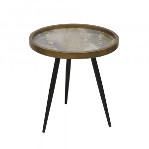 REEF SIDE TABLE ΠΟΛΥΧΡΩΜΟ ΜΕ PATTERN ΜΑΥΡΟ D49,5xH52cm
