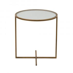 CROCE SIDE TABLE ΧΡΥΣΟ ΔΙΑΦΑΝΟ D45xH50cm