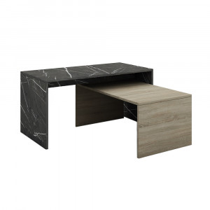 PETRA DUO COFFEE TABLE ΠΕΤΡΑ SONOMA ΣΚΟΥΡΟ 90/80x45xH45/34cm