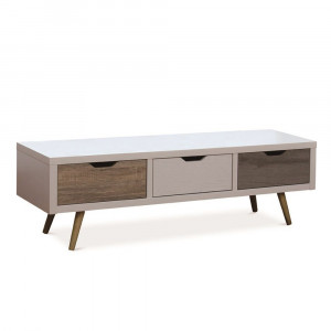 TRICOLORE TV STAND 3ΣΥΡΤΑΡΙΑ ΛΕΥΚΟ ΜΕ PATTERN 120x39xH39cm