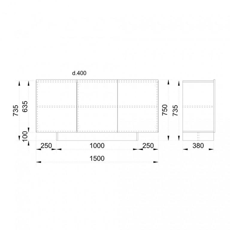 INTRO ΜΠΟΥΦΕΣ SONOMA ΣΚΟΥΡΟ CEMENT ΣΚΟΥΡΟ 150x40xH79,5cm