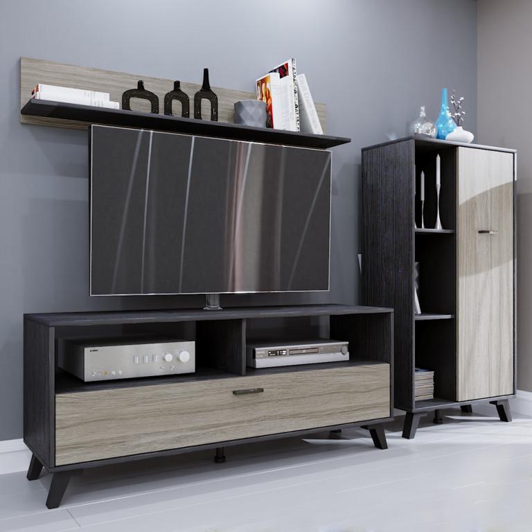 ELVIS ΣΥΝΘΕΤΟ BLACK OAK ΓΚΡΙ OAK 205x40xH130,5cm