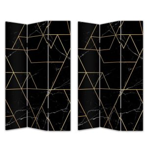 MARBLE BLACK ΔΙΑΧΩΡΙΣΤΙΚΟ ΧΩΡΟΥ ΜΑΥΡΟ ΜΕ PATTERN ΧΡΥΣΟ 120x2,5xH180cm