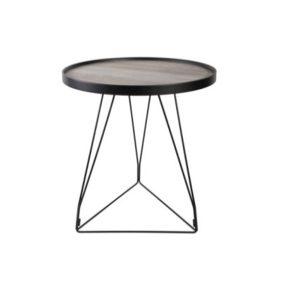 HOOPER SIDE TABLE TAUPE ΜΑΥΡΟ D50xH56cm