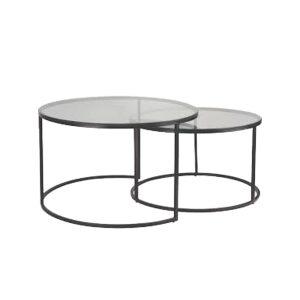 SOLAR COFFEE TABLE SET 2ΤΕΜ ΔΙΑΦΑΝΟ ΜΑΥΡΟ D75-55xH45-38,5cm