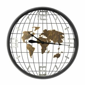 EARTH ΡΟΛΟΙ ΤΟΙΧΟΥ ΜΕΤΑΛΛΟ ΜΑΥΡΟ/ΧΡΥΣΟ Δ80xΥ11cm