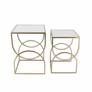 CARDIN SIDE TABLE SET 2ΤΕΜ ΧΡΥΣΟ 40-34x40-34xH56-50cm
