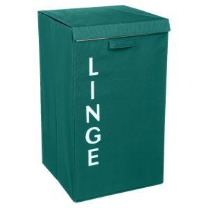 LINGE, ΚΑΛΑΘΙ ΑΠΛΥΤΩΝ, POLYESTER & CARTON, EMERALD GREEN, L36xP36xH63cm