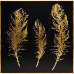 Πίνακας φτερά 78x78cm σε καμβά, μαύρο χρυσό. Κορνίζα πλαστική χρυσή.