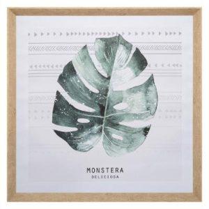 Πίνακας φύλλο μονστέρας 58x58cm σε καμβά, λευκό πράσινο-πετρώλ. Κορνίζα πλαστική, υφή ξύλου.