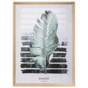 Πίνακας φύλλο μπανανιάς 58x78cm σε καμβά, λευκό πράσινο-πετρώλ. Κορνίζα πλαστική, υφή ξύλου.