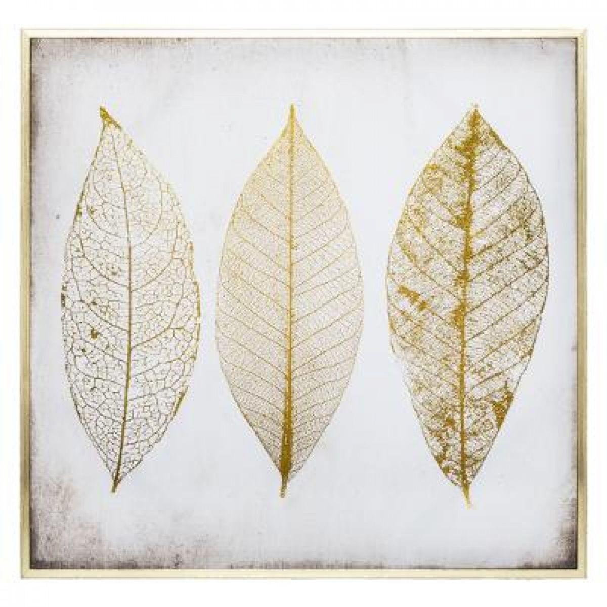 Πίνακας φύλλα 58x58cm σε καμβά, λευκό χρυσό. Κορνίζα πλαστική χρυσή.