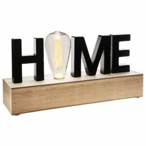 HOME, ΕΠΙΤΡΑΠΕΖΙΟ ΦΩΤΙΣΤΙΚΟ ΜΠΑΤΑΡΙΑΣ LED MDF ΦΥΣΙΚΟ & ΜΑΥΡΟ 34x8x16cm