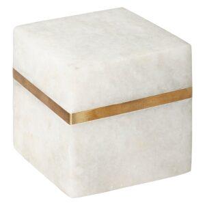 MARBLE CUBE, ΔΙΑΚΟΣΜΗΤΙΚΟ ΜΑΡΜΑΡΟ ΛΕΥΚΟ & ΧΡΥΣΟ 10.5x10.5x7.2cm