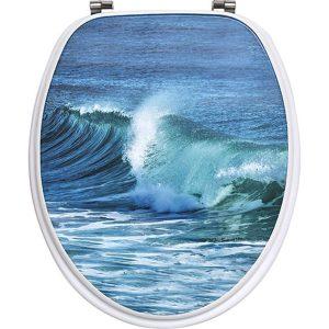 OCEAN,ΚΑΠΑΚΙ ΛΕΚΑΝΗΣ  MDF ΜΠΛΕ, INOX βάσεις. 37,5x46εκ