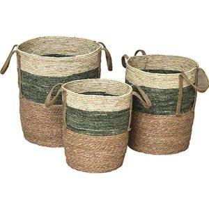 SET 3 ΚΑΛΑΘΙΑ, seagrass ΦΥΣΙΚΟ ΜΕ ΑΣΠΡΟ & ΠΡΑΣΙΝΟ, D42x48cm, D37x43cm, D32x38cm