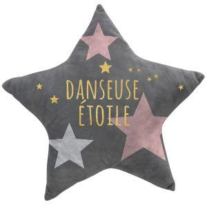 DANCER STAR, ΠΑΙΔΙΚΟ ΜΑΞΙΛΑΡΙ ΒΕΛΟΥΔΟ ΓΚΡΙ ΜΕ ΡΟΖ & ΧΡΥΣΟ 42Χ42εκ