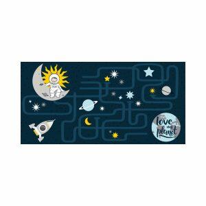 ASTRONAUTE, ΠΑΙΔΙΚΟ ΧΑΛΙ POLYESTER & COTTON ΜΠΛΕ 60x120cm